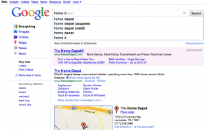 Google instant search results automatically promoting Home Depot